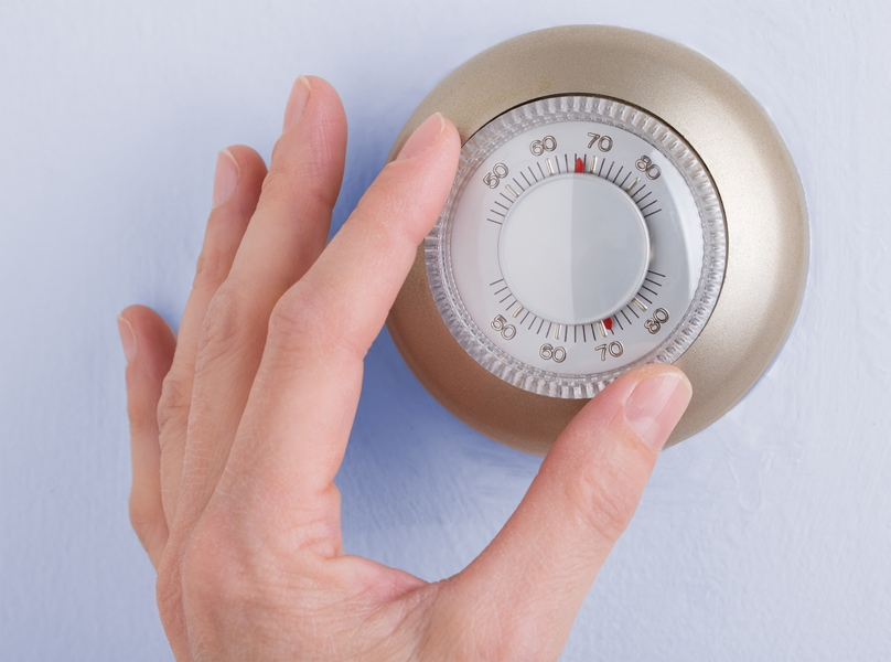Room wall temperature thermostat turn dial to set. What is short cycling?
